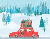 Cute Cartoon family driving a car with Christmas gifts on The Roof. There is a winter forest and snowy hills in the background.