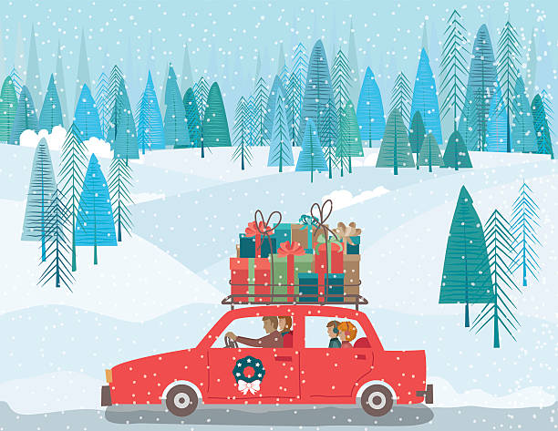 Carrtoon Family Drving A Car Wih Gifts On The Roof Cute Cartoon family driving a car with Christmas gifts on The Roof. There is a winter forest and snowy hills in the background. christmas family stock illustrations