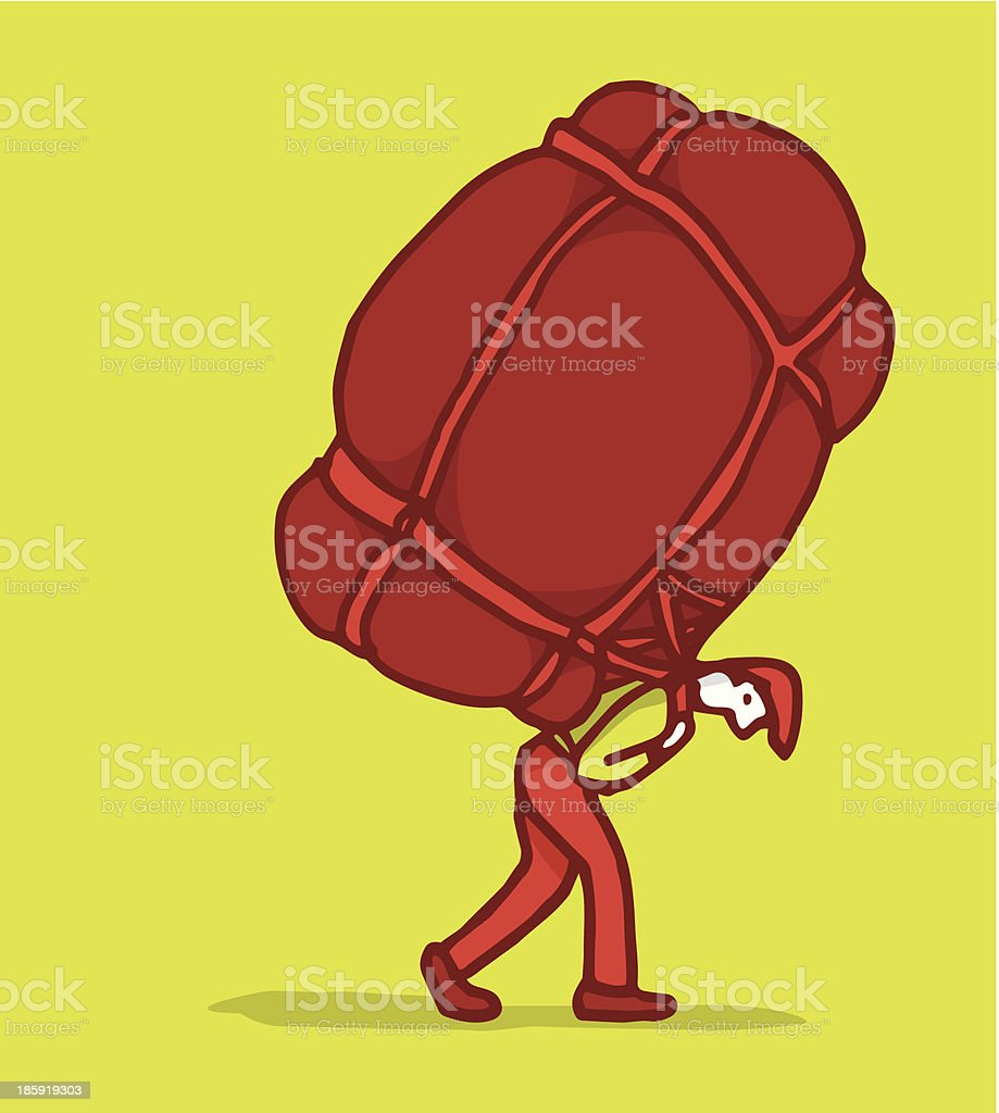 Carrying a heavy burden royalty-free carrying a heavy burden stock vector art & more images of backpack