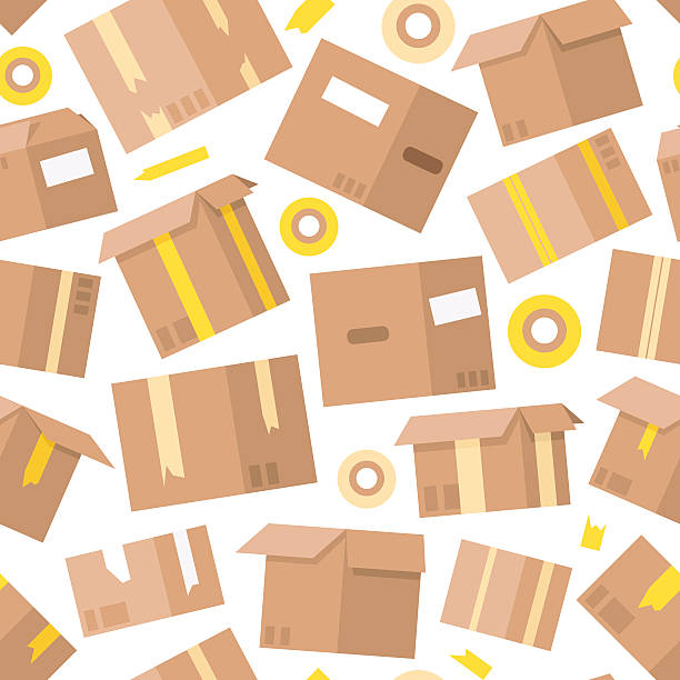 carrying boxes seamless pattern warehouse shipping container. - umzugskartons stock-grafiken, -clipart, -cartoons und -symbole