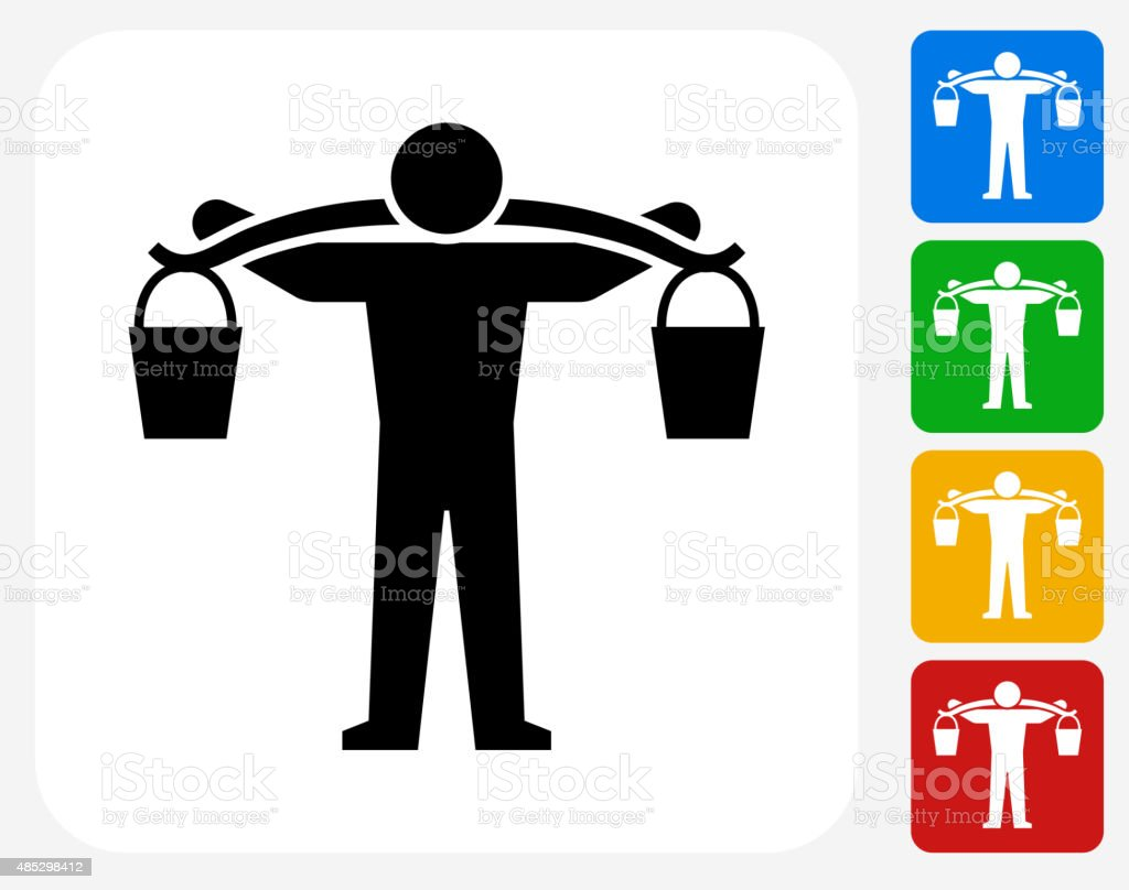 Carrying Buckets Icon Flat Graphic Design vector art illustration