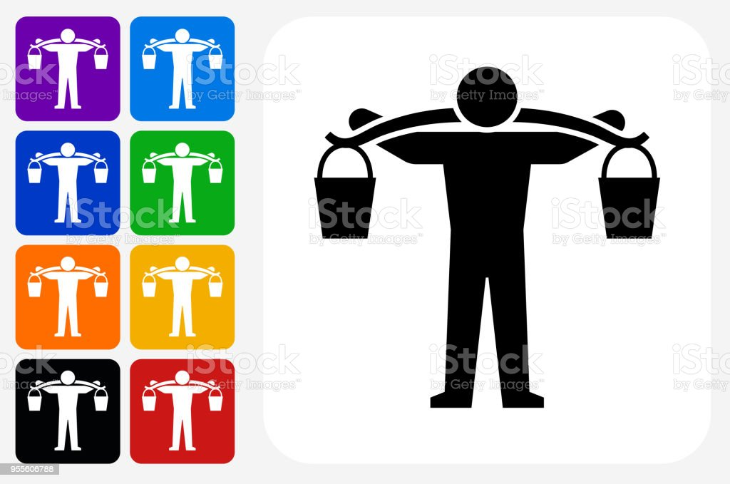 7501cc6be55 Carrying Buckets Icon Square Button Set Stock Vector Art   More ...