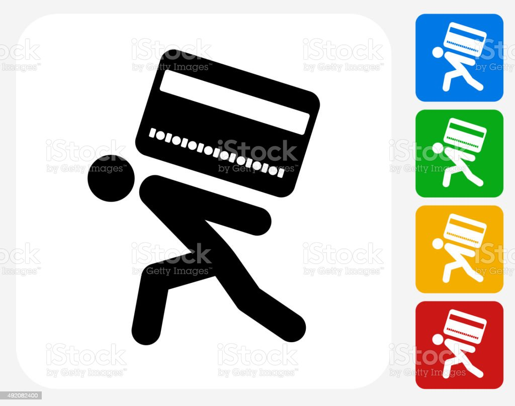 Carrying Credit Card Icon Flat Graphic Design vector art illustration