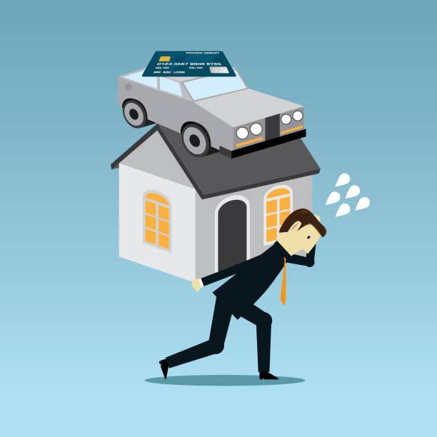 ilustraciones, imágenes clip art, dibujos animados e iconos de stock de llevar la carga de la deuda - bancarrota