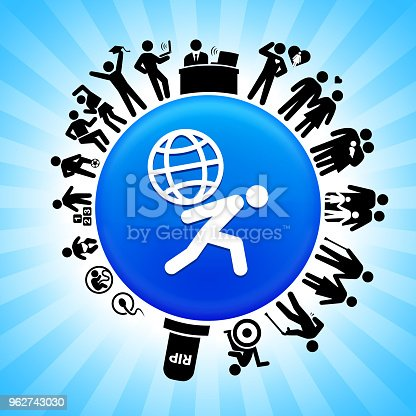 Carrying Globe  Lifecycle Stages of Life Backgroundon circle button. Icons of life from conception to old surround the large shiny round button in the center of this 100 percent royalty free vector illustration. The button is placed against a blue tar burst background. The illustration shows speaks to the