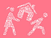 Carrying House  Women's Rights and Girl Power Icon Pattern. The outlines of the main shape are filled with various women's rights and girl power icons. The icons are white in color. They form a seamless pattern and work in unison to complete this composition. The individual icons include classic girl power imagery of women in various aspects of life and promote social equality and achievement.