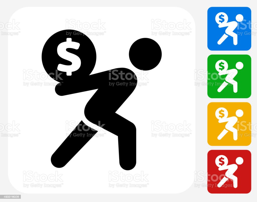 Carrying Money Icon Flat Graphic Design vector art illustration