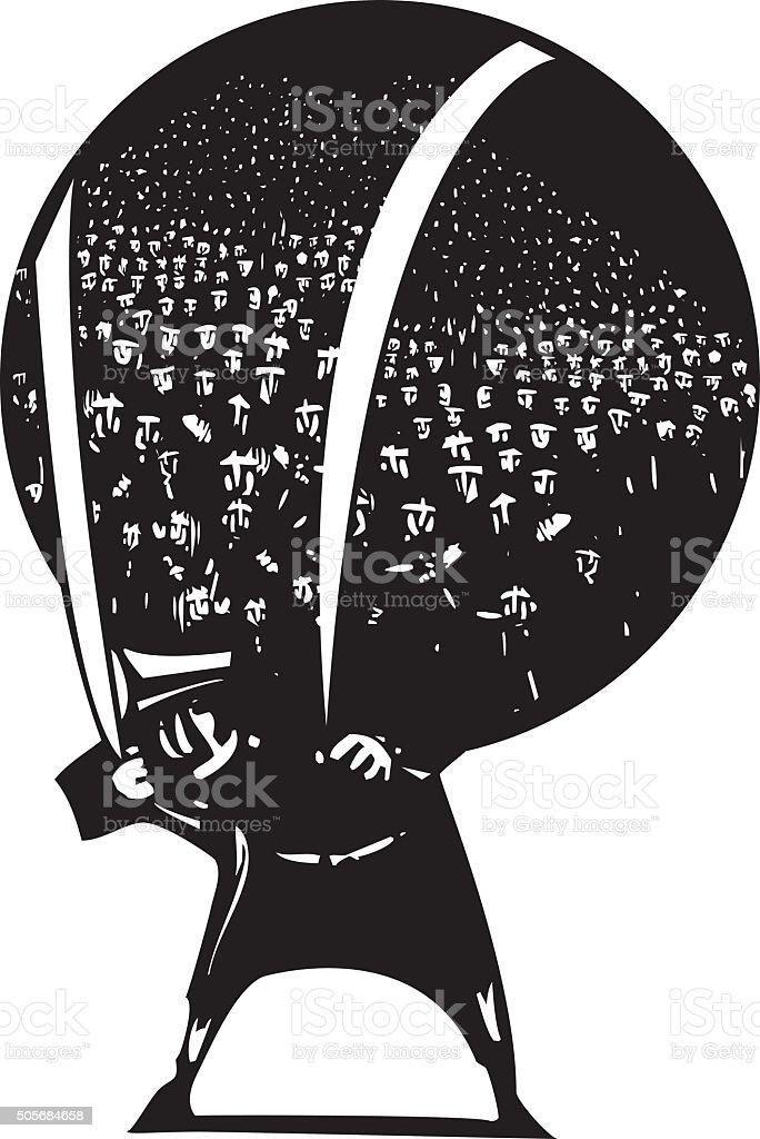 Carrying refugees vector art illustration