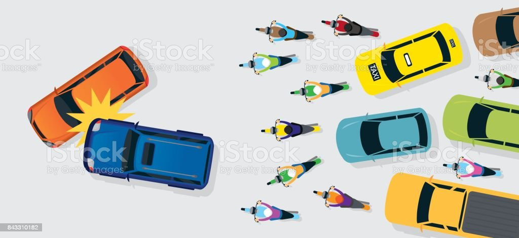 Cars Accident with Traffic Jam Top or Above View vector art illustration