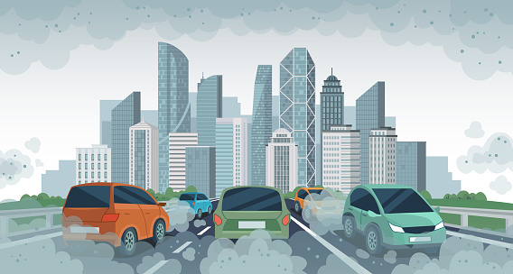 Cars air pollution. Polluted air environment at city, vehicle traffic and toxic pollution. Car with carbon dioxide clouds, vector concept