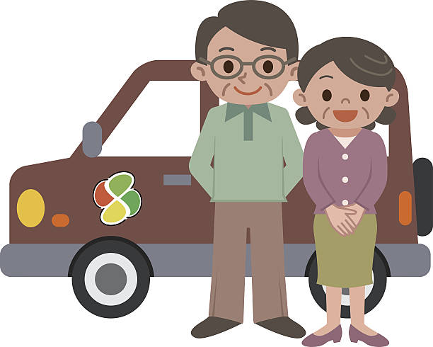 cars and elderly couple - old man standing background stock illustrations, clip art, cartoons, & icons