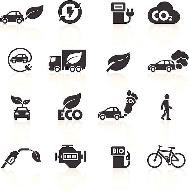 bildbanksillustrationer, clip art samt tecknat material och ikoner med cars and the environment icons - co2