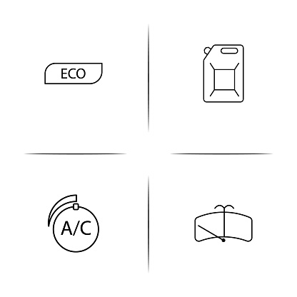 Cars And Transportation Linear Simple Vector Icon Setoutline Icons Stock Illustration - Download Image Now