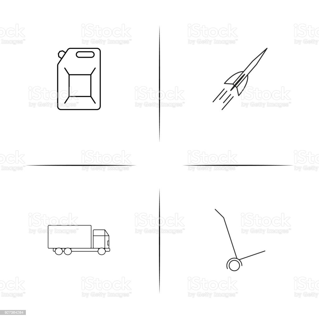 Cars And Transportation linear simple vector icon set.Outline icons - Royalty-free Art stock vector