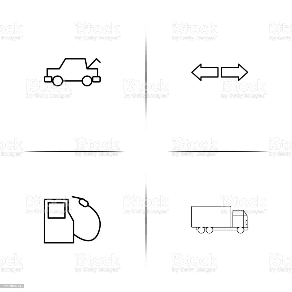 Cars And Transportation linear simple vector icon set.Outline icons Cars And Transportation linear simple vector icon set.Outline icons Art stock vector