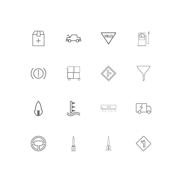 Cars And Transportation simple linear icons set. Outlined vector icons vector art illustration