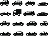 Cars and trucks with detailing. Vector icons for print projects, mobile apps, and Web sites.
