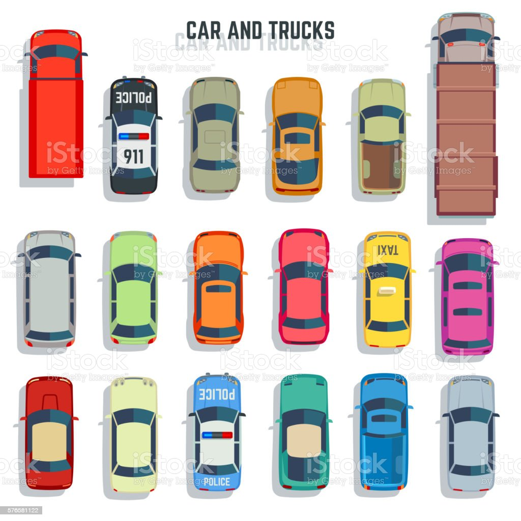 Cars and trucks top view flat vector icons set vector art illustration