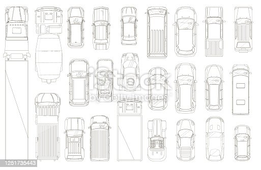 Cars and trucks outline. Various automobiles and trucks motor wheel vehicles line contour drawing set. Top view of trucks and cars collection. Automotive transportation and auto industry concept