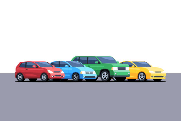 Cars are parked in a row vector art illustration