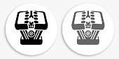 Car's Battery Black and White Round Icon. This 100% royalty free vector illustration is featuring a round button with a drop shadow and the main icon is depicted in black and in grey for a roll-over effect.