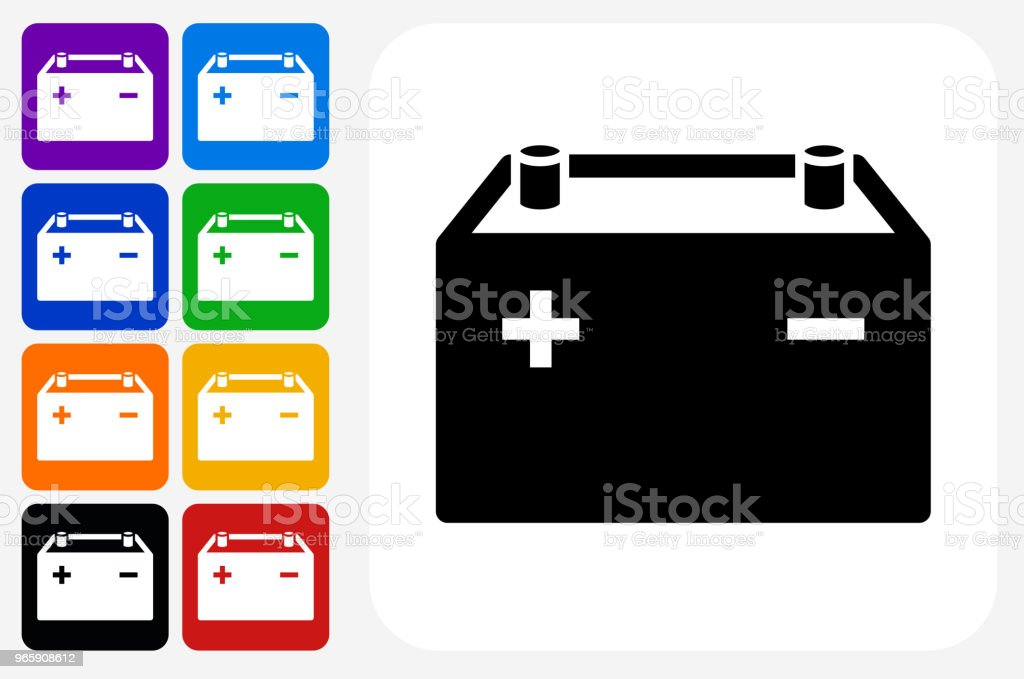 Car's Battery Icon Square Button Set - Royalty-free Amarelo arte vetorial