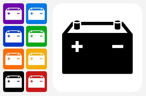 Autos Batterij Pictogram Vierkante Knop Set Stockvectorkunst en meer beelden van Auto