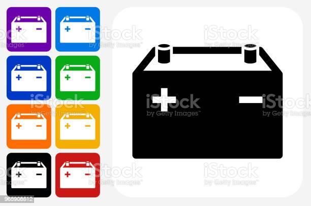 Cars Battery Icon Square Button Set - Arte vetorial de stock e mais imagens de Amarelo