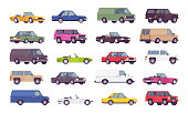 Cars big bundle set. Coupes, sedans, family trucks and hybrid vehicle collection, city transport models and country automobile. Vector flat style cartoon illustration isolated on white background