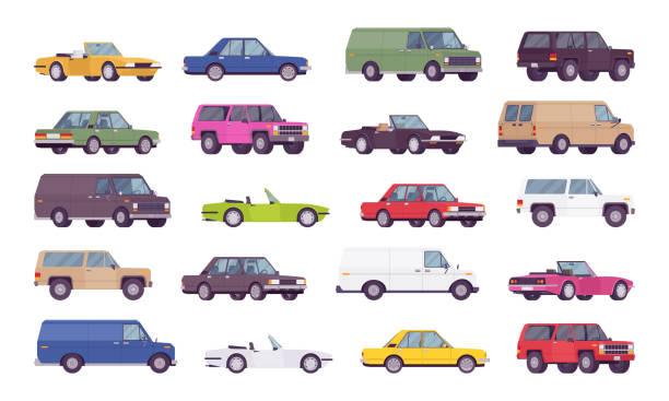 illustrazioni stock, clip art, cartoni animati e icone di tendenza di auto grande set di pacchetti - auto