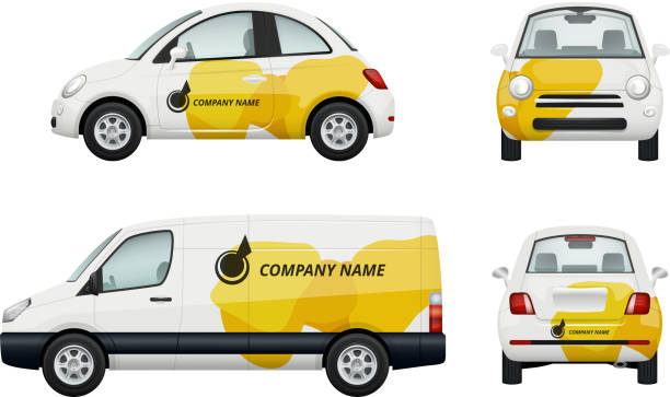 Cars branding. Realistic illustrations of advertizing on cars Cars branding. Realistic illustrations of advertizing on cars. Auto realistic behind, back and rear view, brand company name vector hatchback stock illustrations