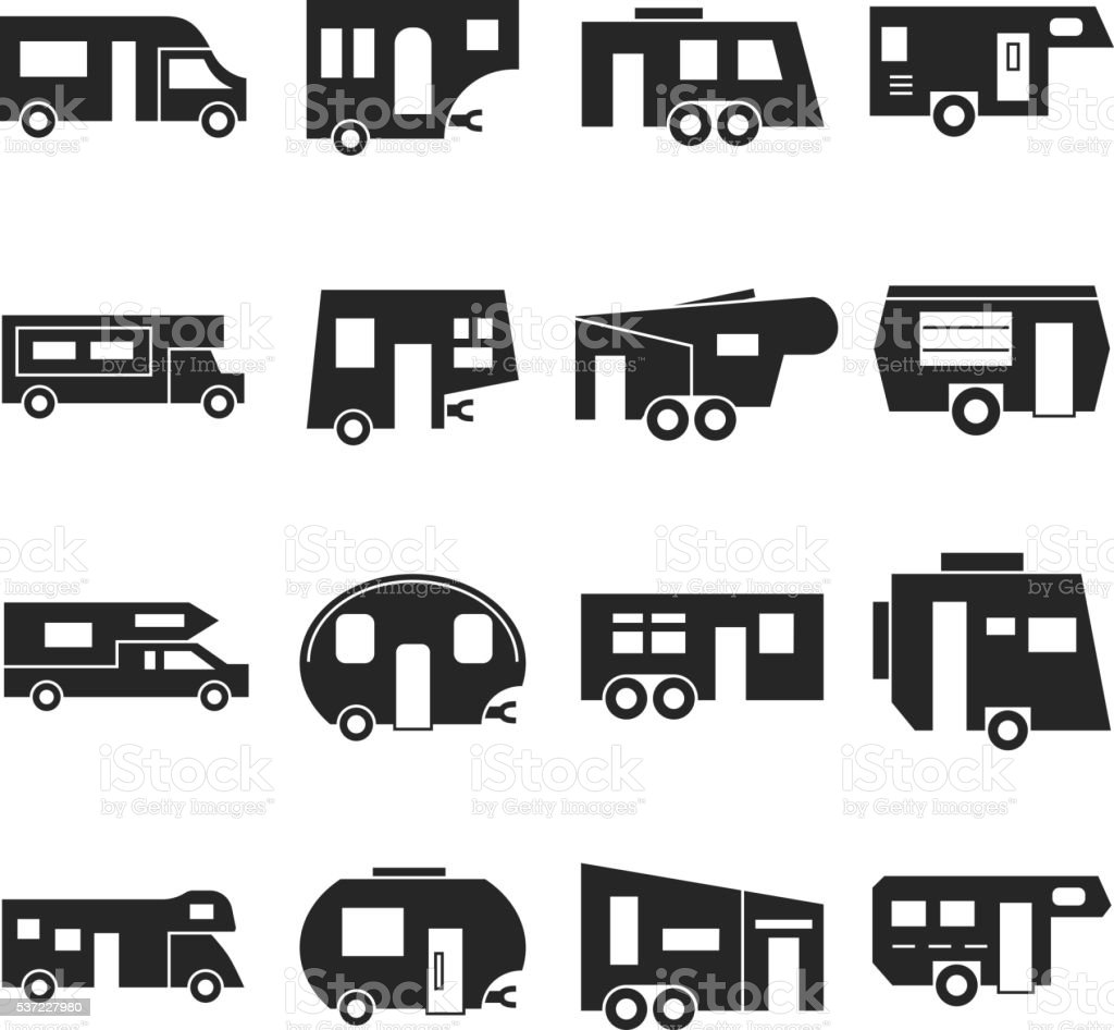 RV cars, campers vector icons vector art illustration