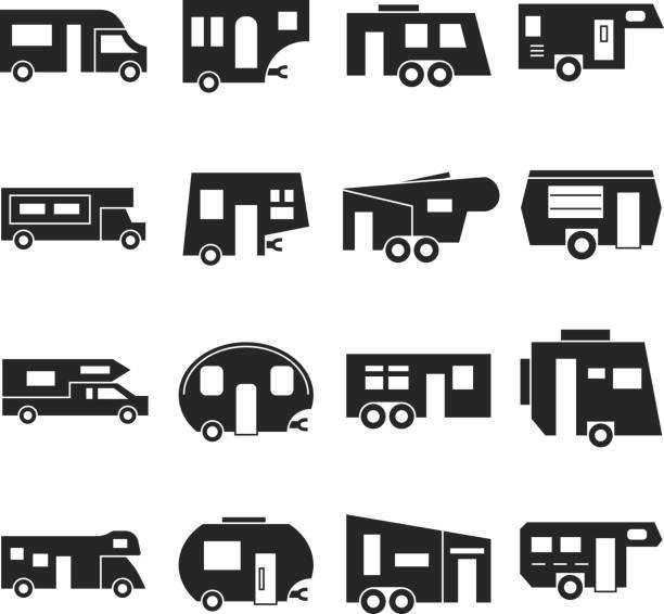 wohnmobil parkplätze, camper vektor-icons - campinganhänger stock-grafiken, -clipart, -cartoons und -symbole