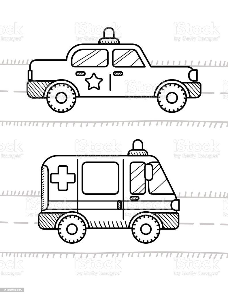 Coches Para Colorear Libro Para Niños Policía Y Ambulancia - Arte ...