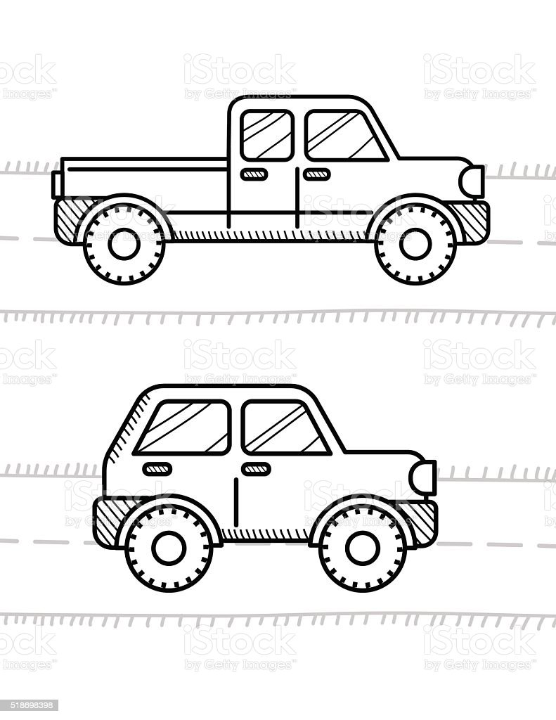 cars coloring book for kids pickup 4wd stock vector art 518698398