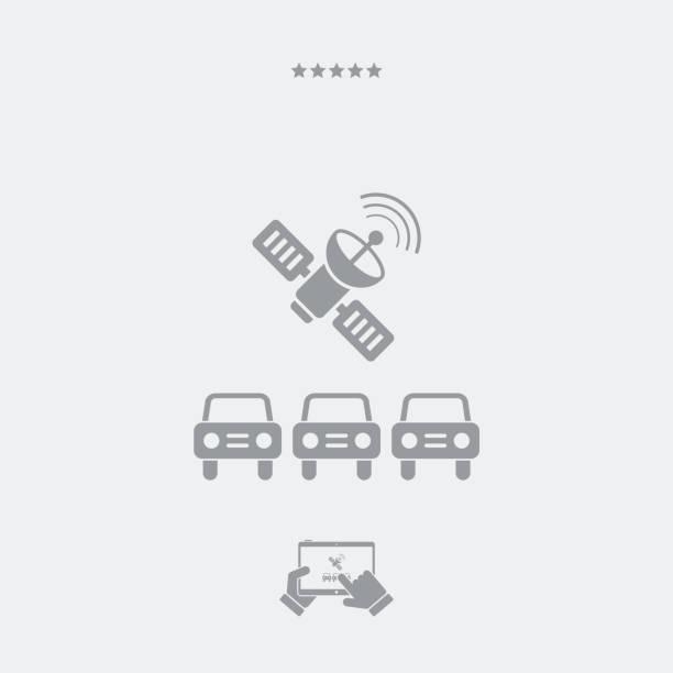 stockillustraties, clipart, cartoons en iconen met auto's die zijn verbonden met satelliet - taxi robber