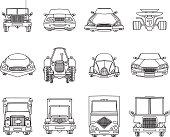 Vector cars doodles set.