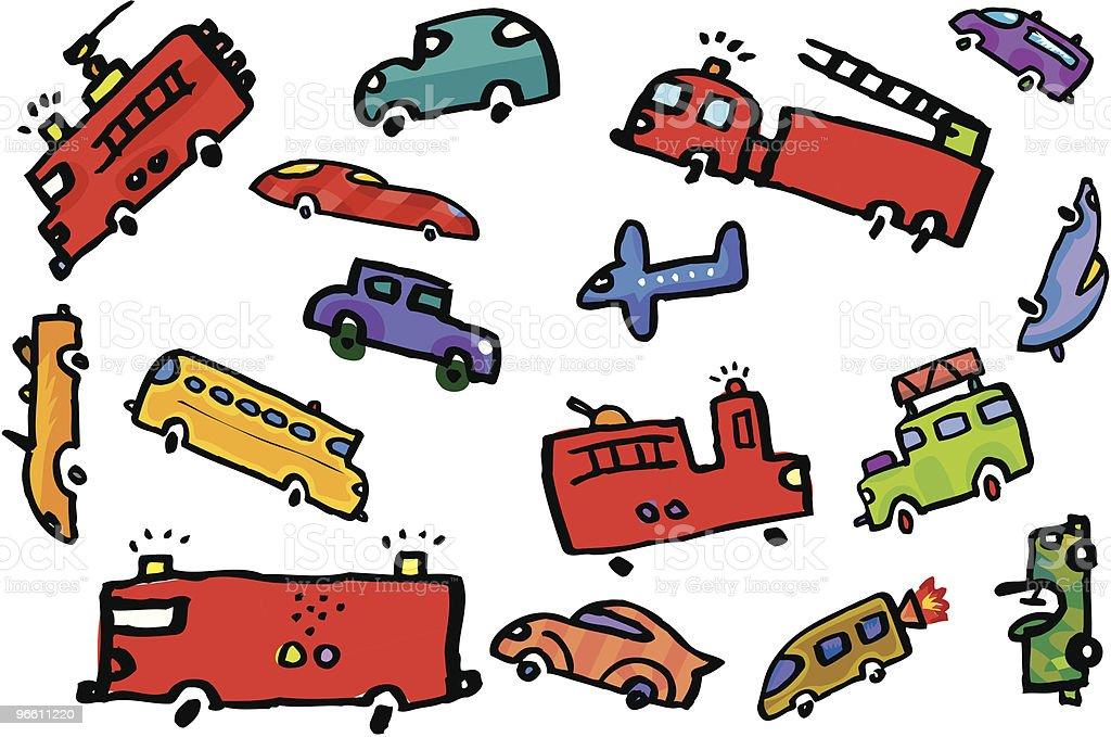 Огонь грузовых автомобилей в Пробка на дороге с самолёт - Векторная графика Автобус роялти-фри