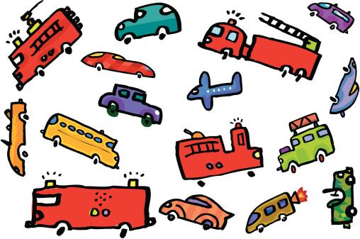 Огонь Грузовых Автомобилей В Пробка На Дороге С Самолёт — стоковая векторная графика и другие изображения на тему Автобус