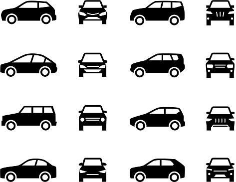 Cars front and side view signs. Vehicle black silhouette vector icons isolated on white background. Automobile vehicle for transportation, transport automotive illustration