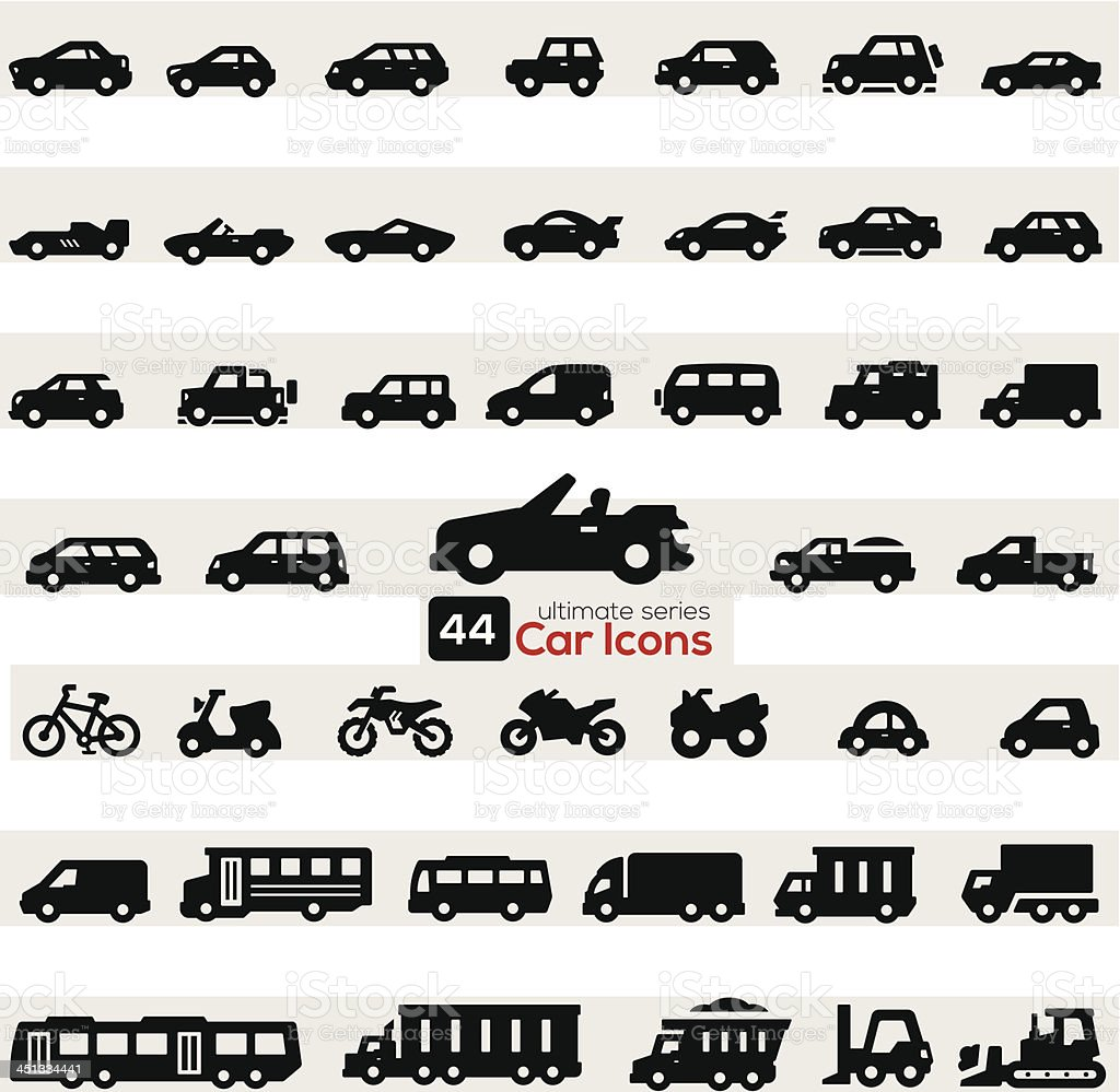 Carros Conjunto de ícones - ilustração de arte em vetor