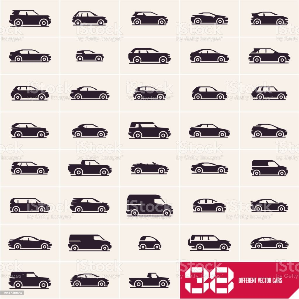 Cars icons set, different vector cars vector art illustration