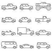 Cars, icons set. Editable stroke