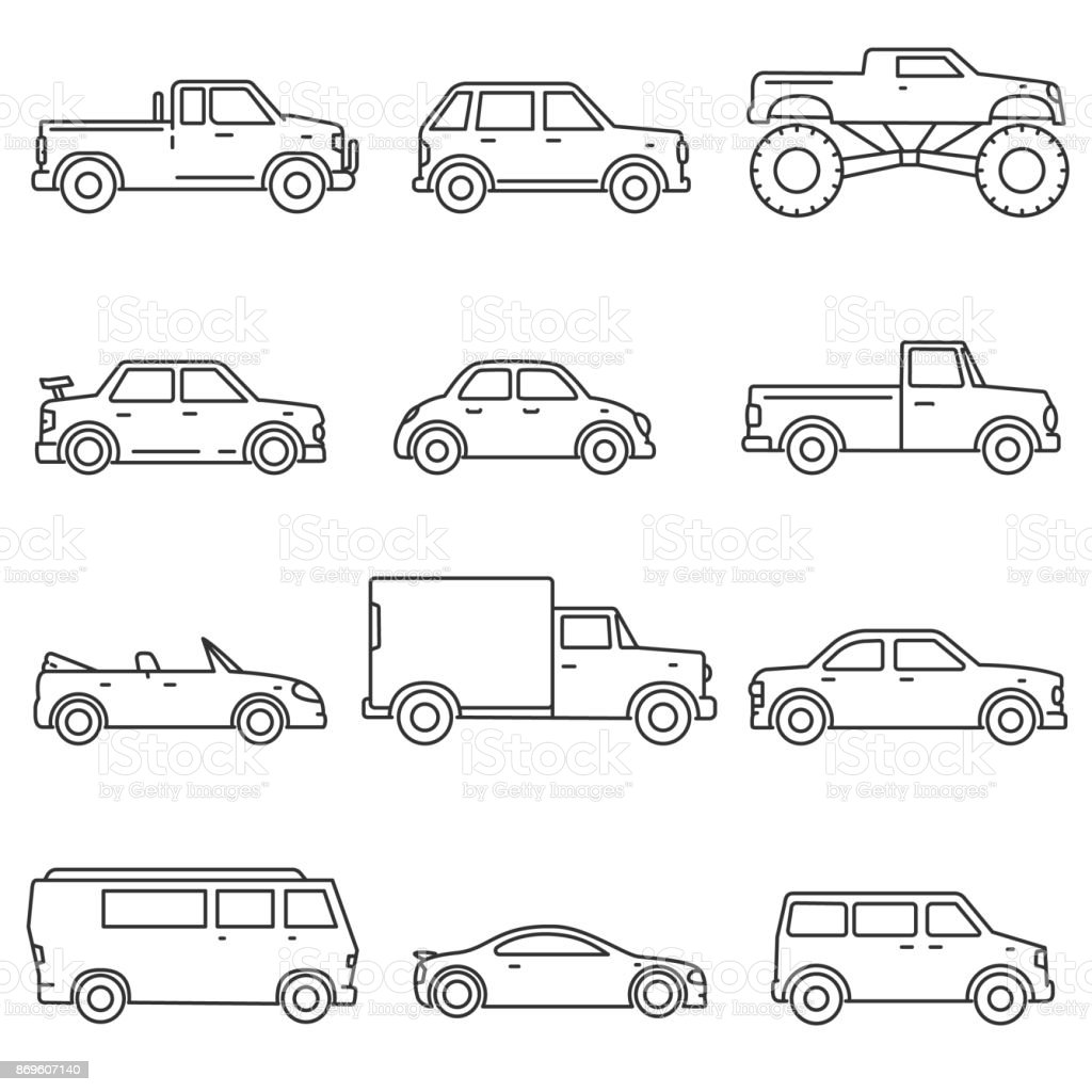 Cars, icons set. Editable stroke vector art illustration