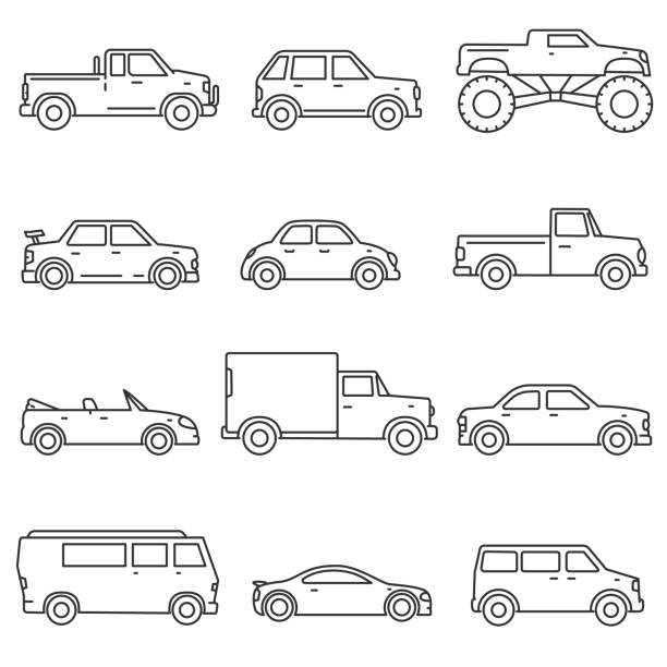 Cars, icons set. Editable stroke Cars, icons set. Means of transport, thin line design. Different types of car. Lines with editable stroke. isolated vector illustration car stock illustrations
