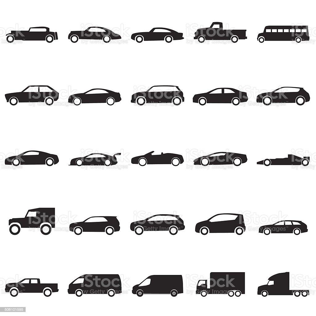 Cars icons set ,vector EPS10 vector art illustration