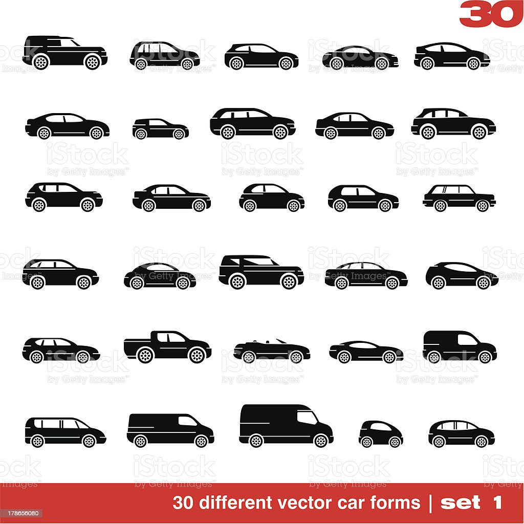 Cars icons set vector art illustration