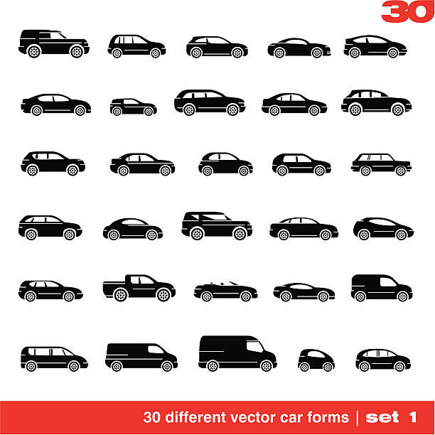 Cars icons set Cars icons set 1. 30 different vector car forms mini van stock illustrations