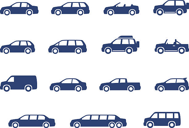 Cars icons set Cars icons set. Vector silhouettes of vehicles hatchback stock illustrations