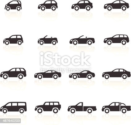 Car Icons - car icons representing all typically available car types, from city cars to SUV's to sports. Layered & grouped for ease of use. Download includes EPS 8, EPS 10 and high resolution JPEG & PNG files.